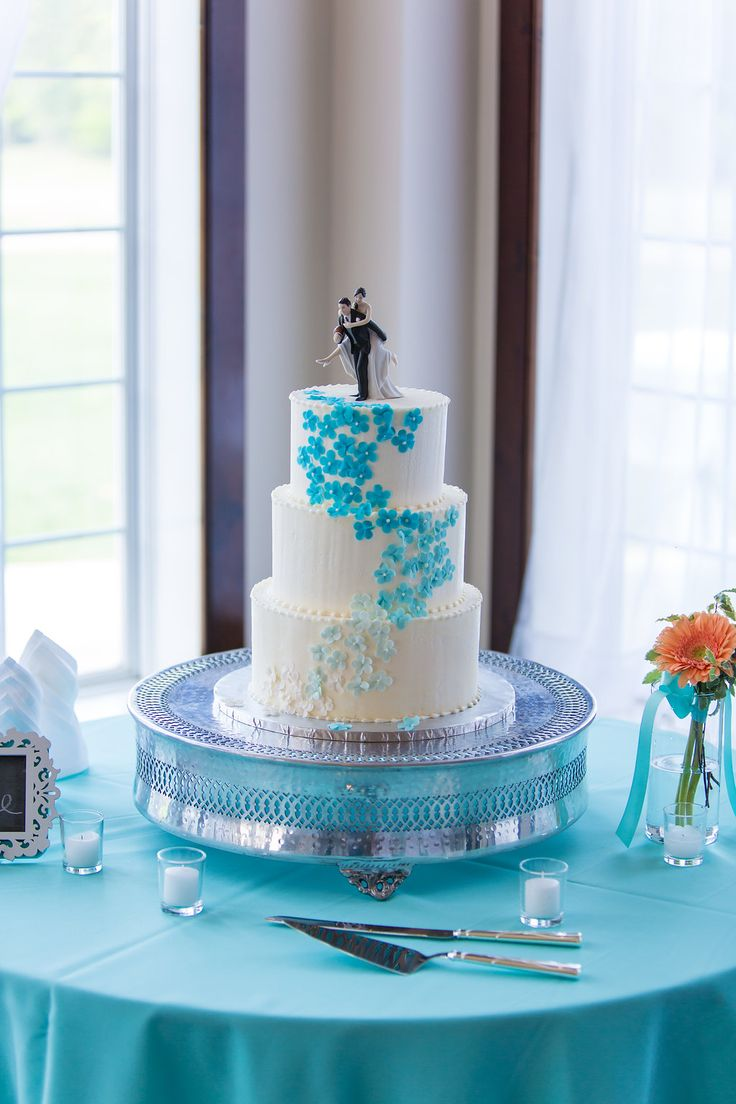 127 best the chocolate indulgence room wedding cakes other sweets white wedding cake with turquoise ombre flowers miami dolphins wedding photo by http izmirmasajfo
