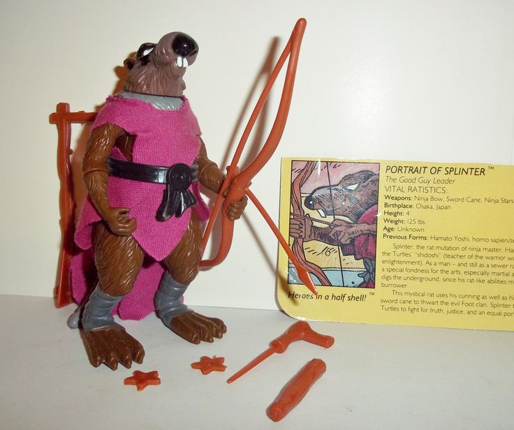 Playmates TEENAGE MUTANT NINJA TURTLES 1988 original vintage SPLINTER 100% COMPLETE with all weapons/accessories even includes the original file card condition: c9 Excellent - Displayed only/collector