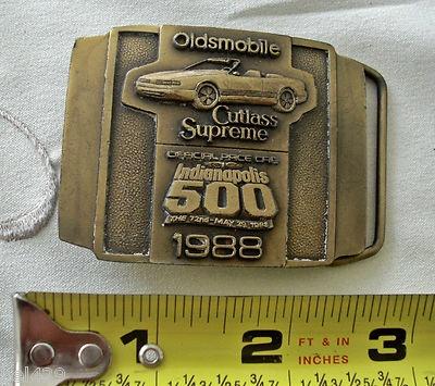 #VINTAGE BELT BUCKLE $19.95  Old Cutlass supreme Indy 500 brass belt buckle
