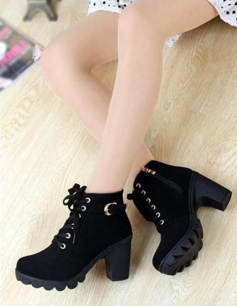 Lace Up Ankle Boots - Rebel Style Shop - Step into seasonal style with these black platform mini boots. Metal buckle detailing around the back and a squared heel gives these lace-up booties a grungy touch. Pair these mini boots with your favourite tartan skirt and leather jacket for a fearless badass style.