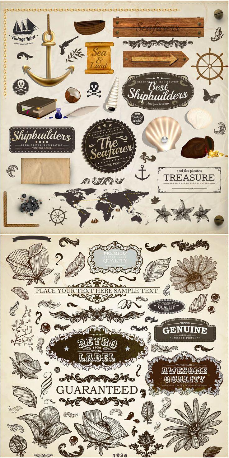 Vintage marine and floral design elements vector