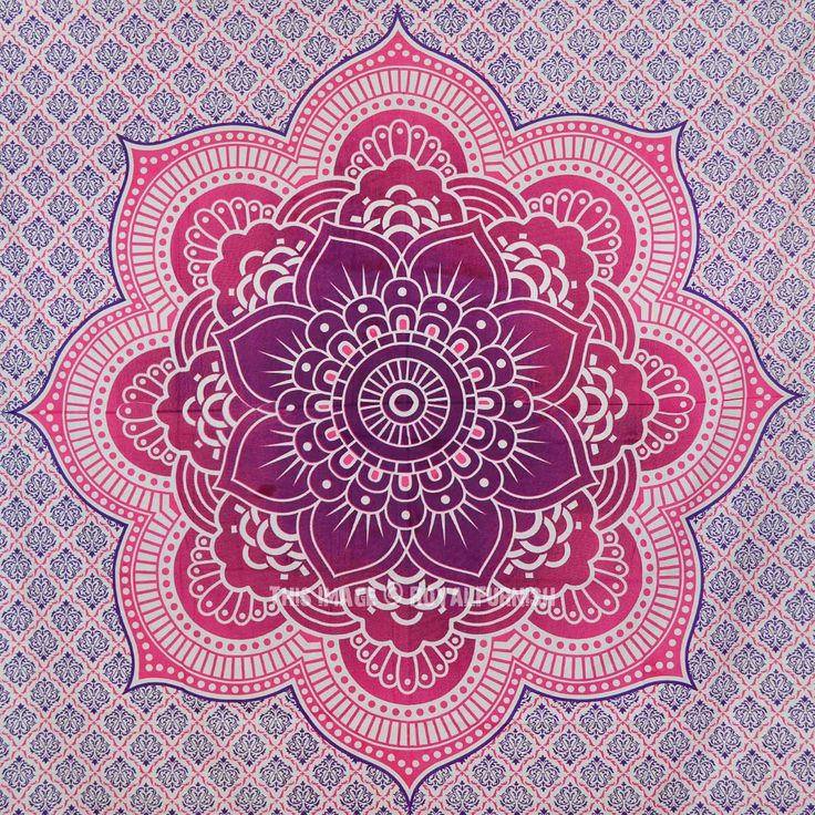 Pink Flower Of Life Geometric Ombre Mandala Wall Tapestry