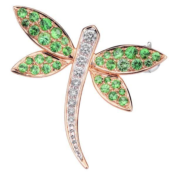 Brosa diamante si tsavorite DRHK00014 ‐ Bijuteria Teilor