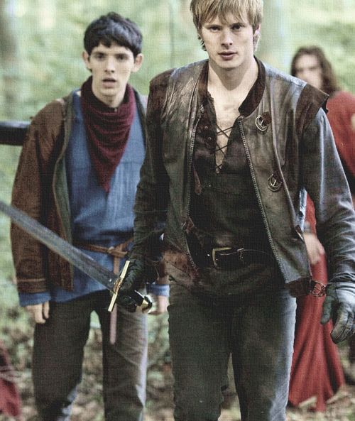 Bradley James as arthur pendragon and colin morgan as #merlin #MerlinMonday