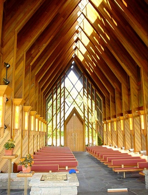 An interior shot of the Chapel at Powell Gardens, east of Kansas City. Designed by E. Fay Jones and his associate Maurice Jennings. Jones extended Frank Lloyd Wright's 'Prairie School' style in harmonious, beautiful ways.