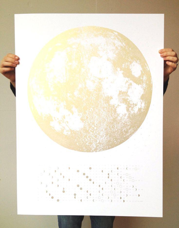 Gold Full Moon 2016 Calendar Moon Phases, lunar phase screen print, beautiful silver copper large print 22x30, la luna wall art space, stars by alittlelark on Etsy https://www.etsy.com/listing/243261899/gold-full-moon-2016-calendar-moon-phases