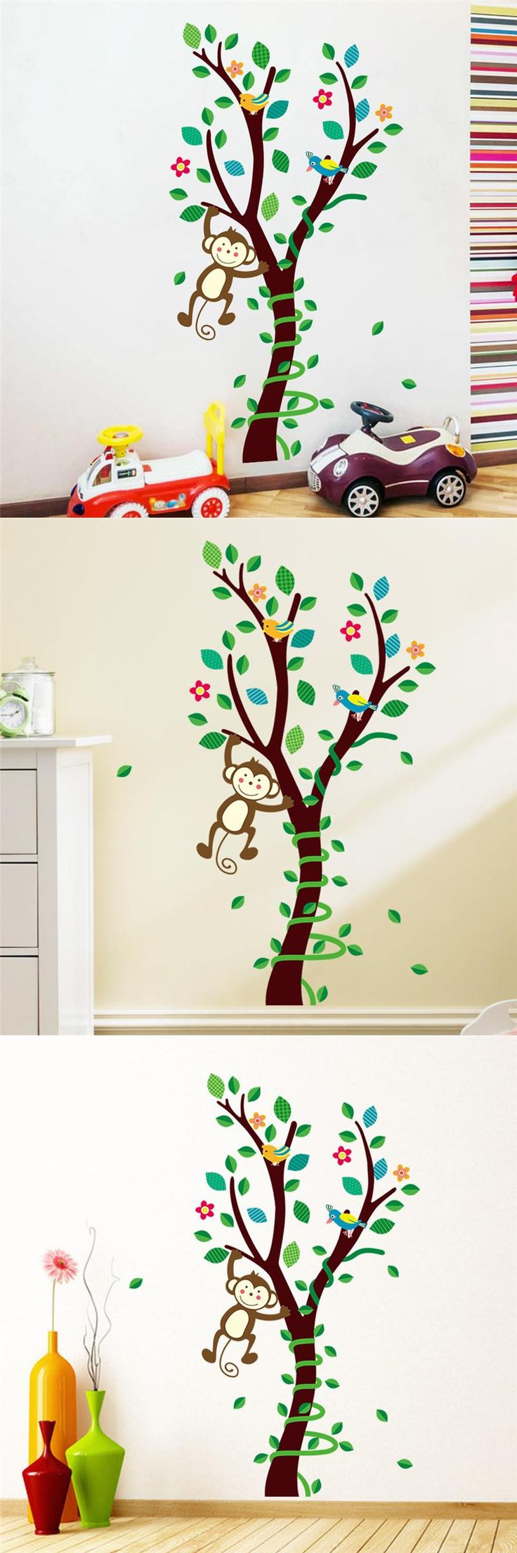 11 best muurstickers kinderkamer images on pinterest bird wall visit to buy cartoon animals monkey flower tree forest wall stickers diy home decor