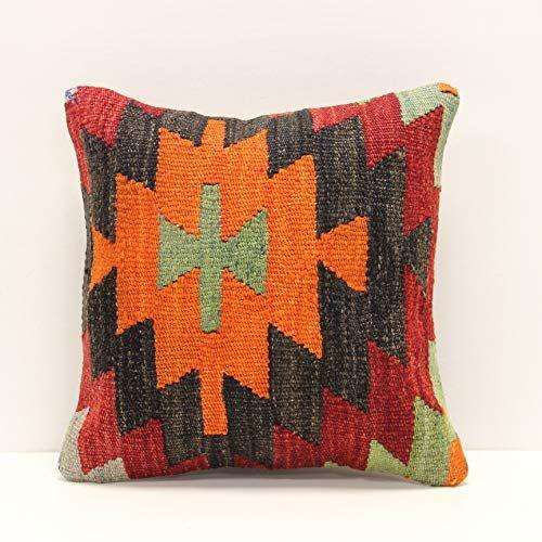 Handmade Kilim Pillow Cover 12x12 Inch Throw Kilim Pillow Cover Accent Small Pillow Cover Decorative Kilim Cushion Co In 2020