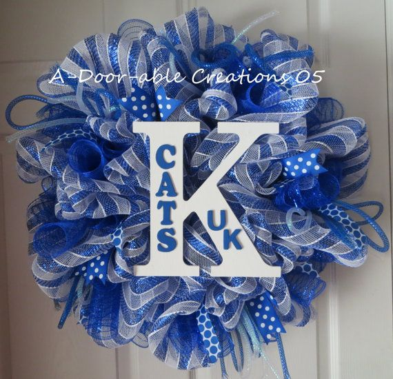university of kentucky deco mesh wreath for sale on etsy