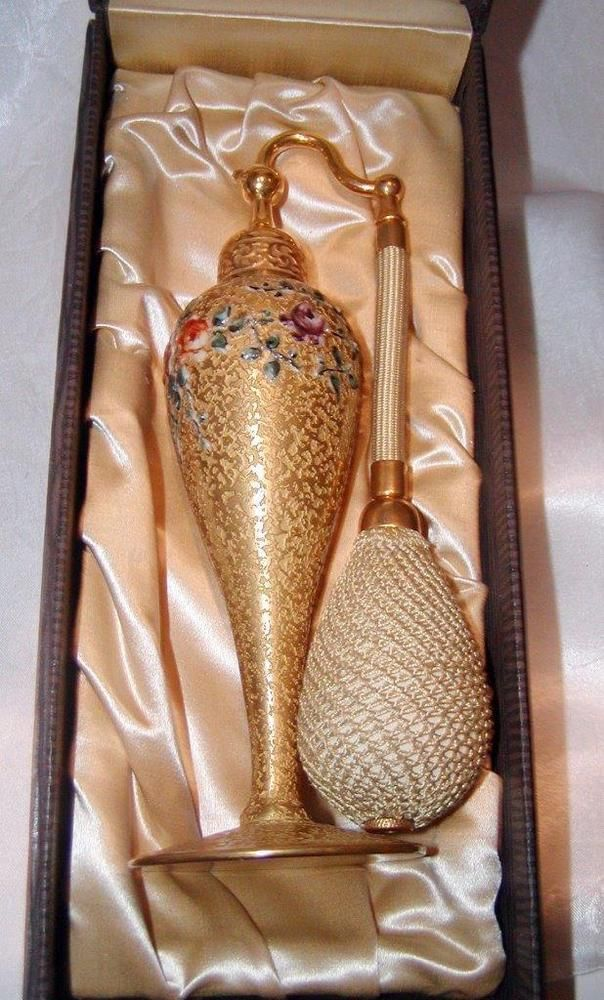 Gold DeVilbiss Perfume Atomizer - Circa 1920's Flowers IN ORIGINAL BOX