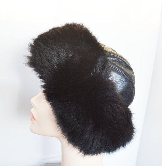 279b00bfec9 Black Fox fur hat with Black leather top