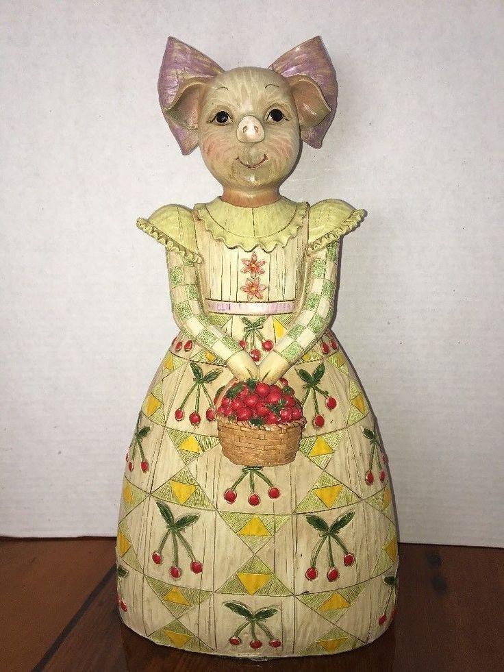 "Folk Art Pig Girl Seymour Mann Resin Faux Carved Wood 14"" Tall"