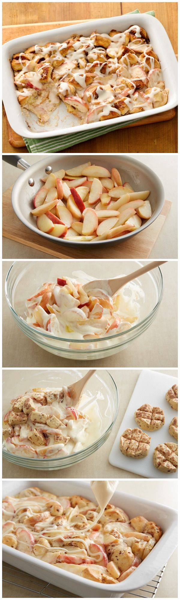 Take it easy in the morning with the help of Pillsbury cinnamon rolls and sweet, crunchy apples!