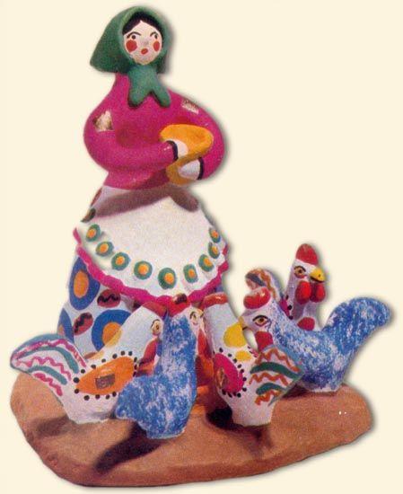 """Дымковская игрушка  """"Птичница"""" , 1972г . Работа Кошкиной Е.З."""