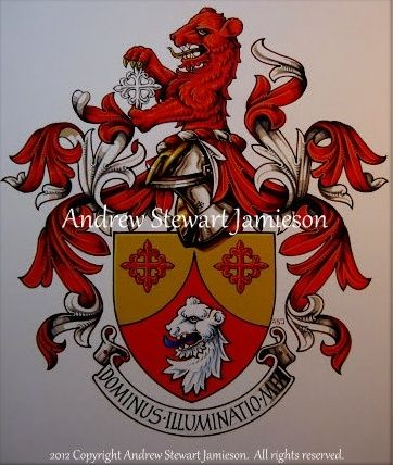 The Armorial Bearings of Claus Berntsen this is original hand drawn and painted artwork created by British Artist and Designer Andrew Stewart Jamieson and is fully copyrighted. No portion of this can be used to create another piece of artwork. Do not copy, trace or digitally manipulate. (heraldry, heraldic art, heraldic artists, coats of arms, fine art, The Jamieson Family)