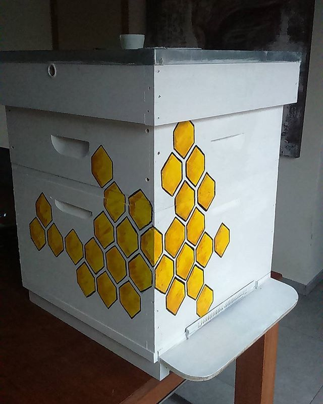 #beehive #paintedbeehive . I just painted a new beehive .  New house for my bees this year.  I want to draw more on it .... ??