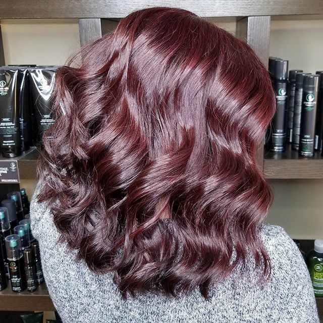 Pinot Noir  Paul Mitchell Color XG 5RV and 5VR and pulled through Shines XG 7RV and 5RV with 10 volume and olaplex
