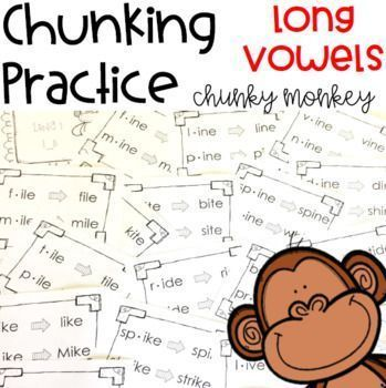 Hundreds of phonics word activities to help students with the chunking reading strategy. Teachers, parents and other paraprofessionals will be teaching children to recognize bigger chunks in words rather than reading sound by sound with the fun ideas in these templates. Great for individual or small group literacy instruction for children of any age. Click the link to help your students meet the phonics Common Core State Standards!