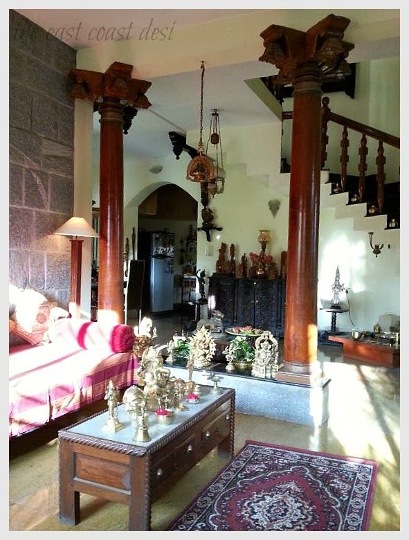 the antique pillars have been incorporated in such a way