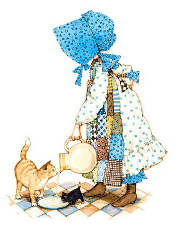 The original holly never showed her face. She was a bit like the Sun bonnet Sues in that respect/ Holly Hobbie feeding kitties