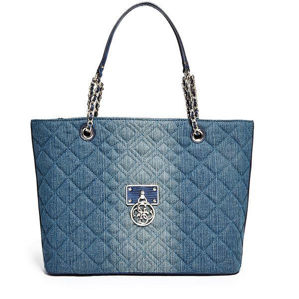 GUESS Aliza Denim Medium Tote ($83) ❤ liked on Polyvore featuring bags, handbags, tote bags, blue denim, denim tote bag, structured tote, denim tote, longchamp medium tote and satchel handbags