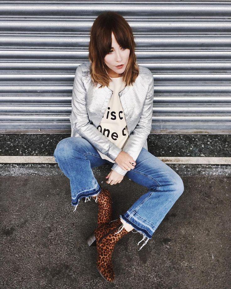 MOOD: Stuck for outfit ideas? You need to stalk Megan Ellaby. She knows how to style a slogan sweat, just add metallics and leopard.
