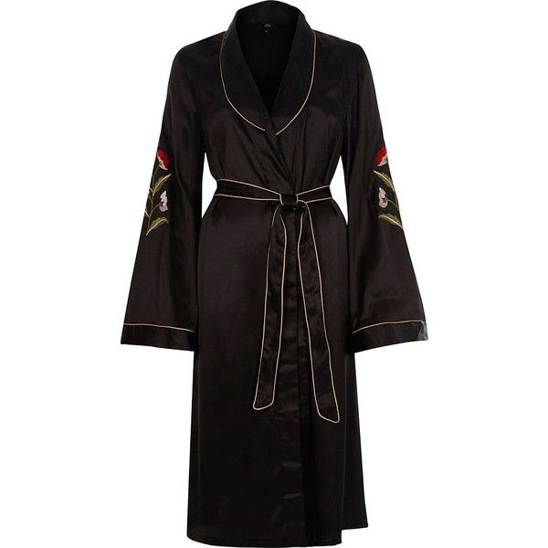River Island Black satin floral embroidered robe ($30) found on Polyvore featuring women's fashion, intimates, robes, black, nightwear & slippers, sale, women, long bath robe, satin robe and river island