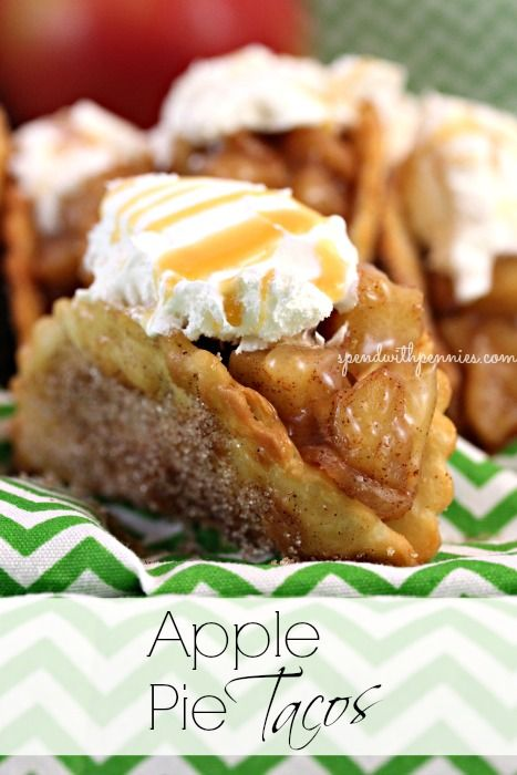 <3 Apple Pie Tacos <3 Crispy Cinnamon Sugar Shells with a Warm Apple Pie filling... Wouldn't you love one of these right now??