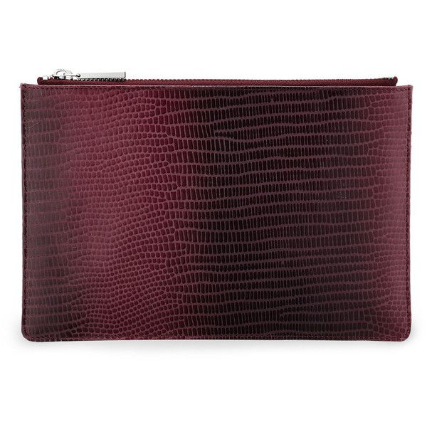Whistles Graduated Lizard Small Clutch (€53) ❤ liked on Polyvore featuring bags, handbags, clutches, burgundy, real leather handbags, burgundy purse, real leather purses, leather purses and burgundy leather purse