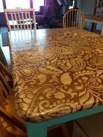 Refinishing a table: stain or paint a pattern on the top, paint the legs a different solid color (remember for the table top to account for pattern continuity if the table has a leaf)