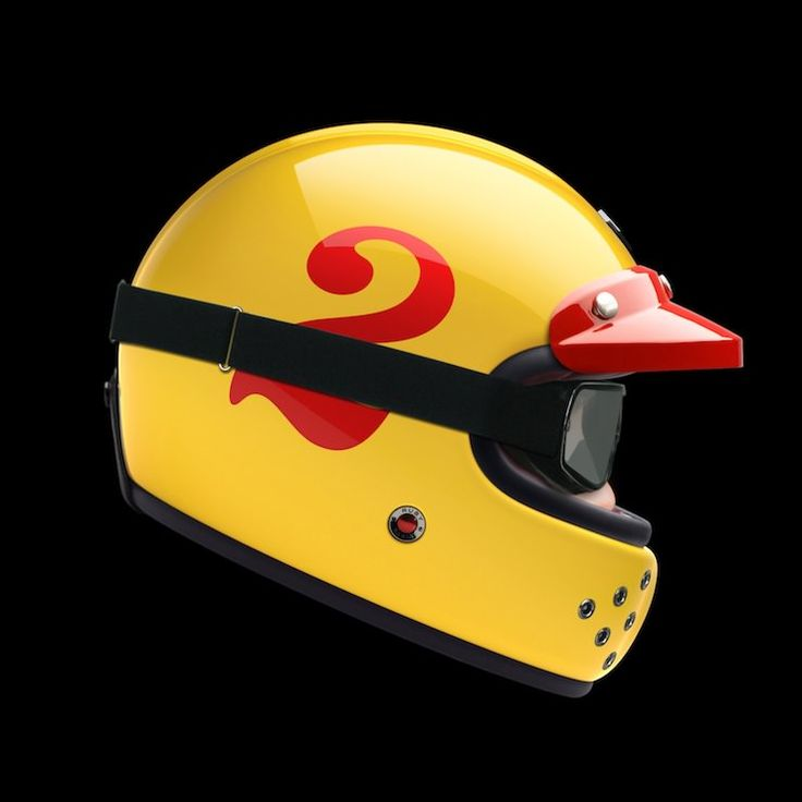 Ruby Castel Full Face Helmet. Love it! It would be more fresh to do a flat black helmet like this, with a number on the side.