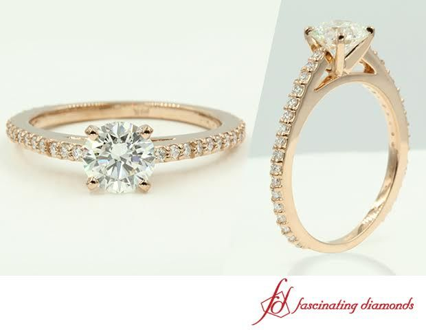 Sleek Sparkle Ring    Round Cut Diamond Petite Rings With White Diamond In 14k Rose Gold #rosegoldengagementrings #rosegolddiamondengagementrings #rounddiamondrings