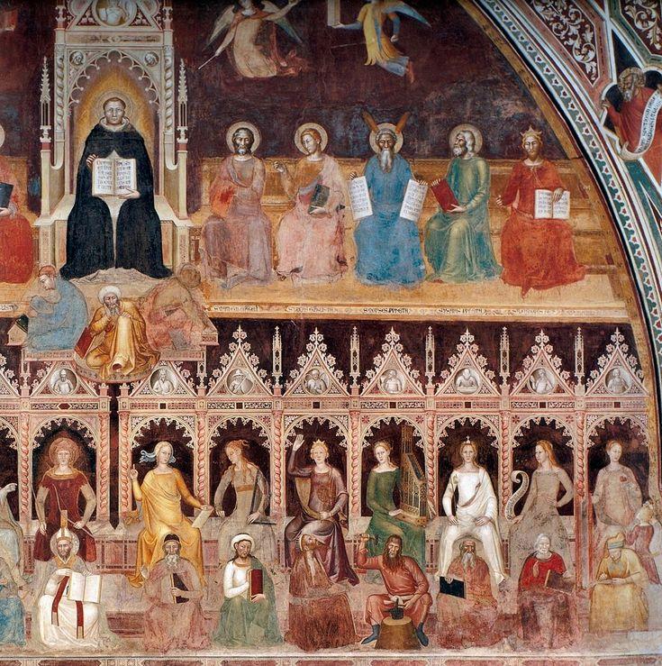 Andrea di Bonaiuto. Santa Maria Novella 1366-7 fresco 0016 - Андреа Бонайути — Википедия. Апофеоз св. Фомы Аквинского, правая часть.