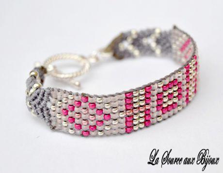 Bracelet Macramé et Tissage de Perles Gris Argenté et Rose