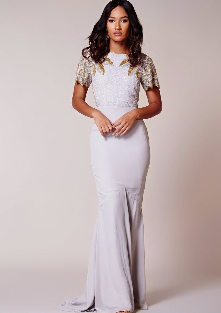 087068b8b8 Virgos Lounge Grey Ansley Embellished Cocktail Wedding Prom Party Dress 6 -  18  VirgosLounge  MaxiDress  SpecialOccasion