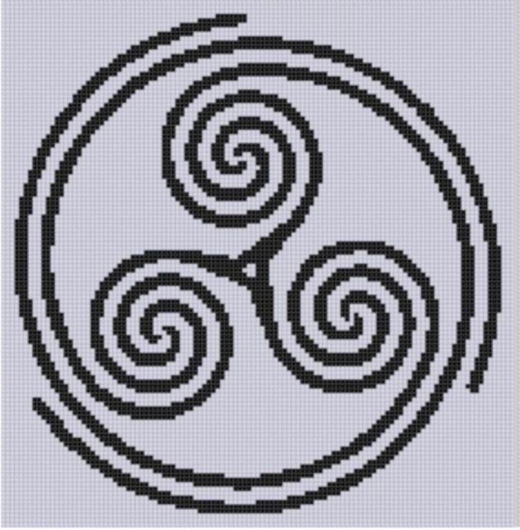 Celtic triple spiral cross stitch patt hand embroidery