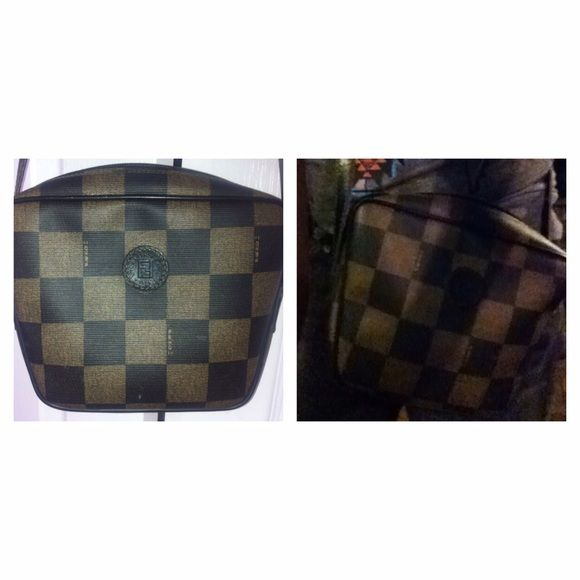Authentic vintage Fendi bag. PRICE DROP ⬇️ Awesome condition small unique vintage Fendi bag. Adjustable Strap 25 inches, 8.5 inches wide x 7 high. Cross body. White spot on bag not noticeable when wearing can probably come out with soap water. Normal vintage wear, no holes or rub off around the bag. The last pics are of the inside of bag which has a rip of interior (doesn't affect outside of bag can't be seen) other pics are of the inside of the straps normal wear not torn (just wanted to…