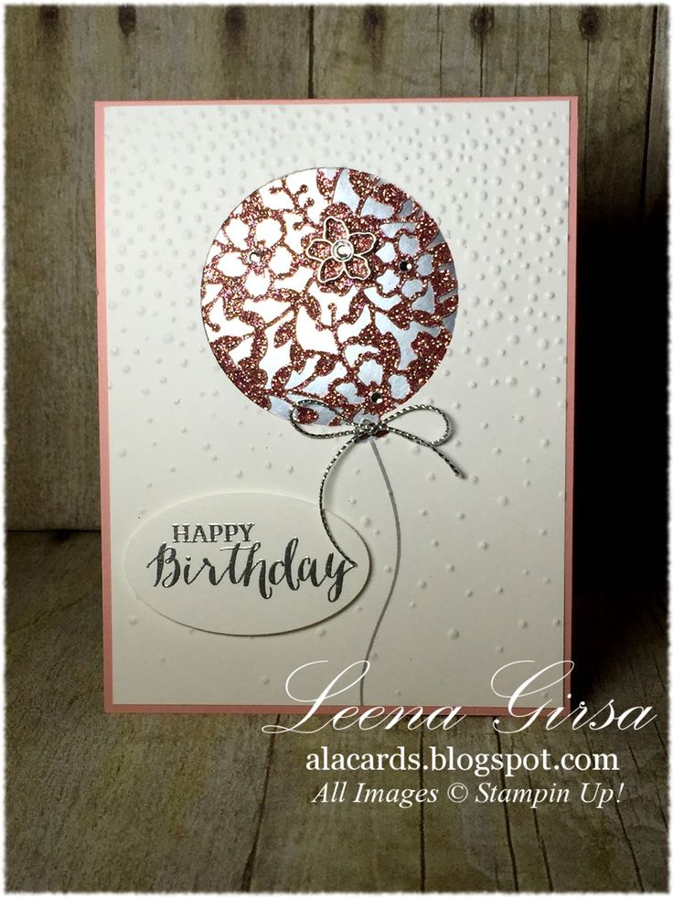 Blushing Bride glimmer paper is the star of this handmade birthday card. Cut with the Bloomin' Heart Thinlit die set, then layered with silver foil, it truly pops in this balloon shape. The front white panel is embossed with Softly Falling for even more drama.
