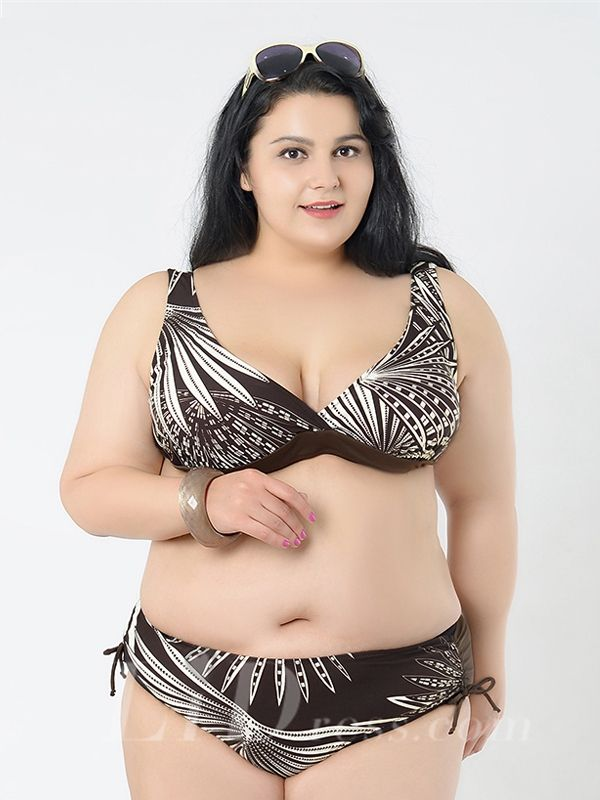 Brown Printing New Style Plus Size Sexy Womens Bikini Suit Lidyy1605241042