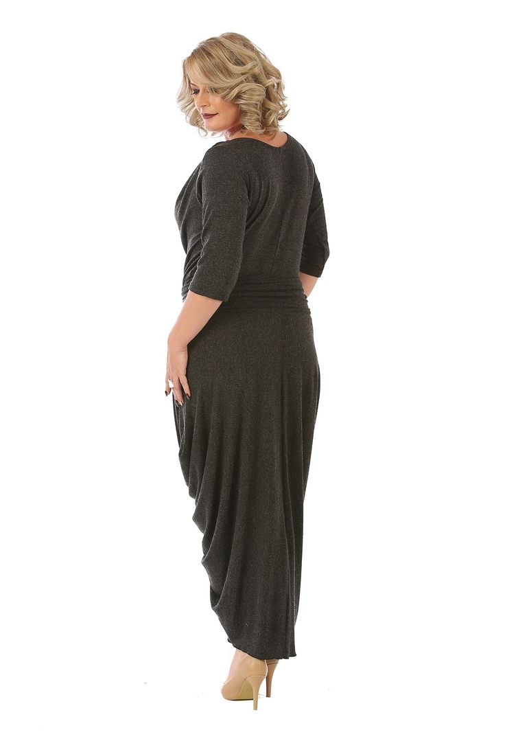 Rochie rasucita din tricot R025 negru de la Ama Fashion