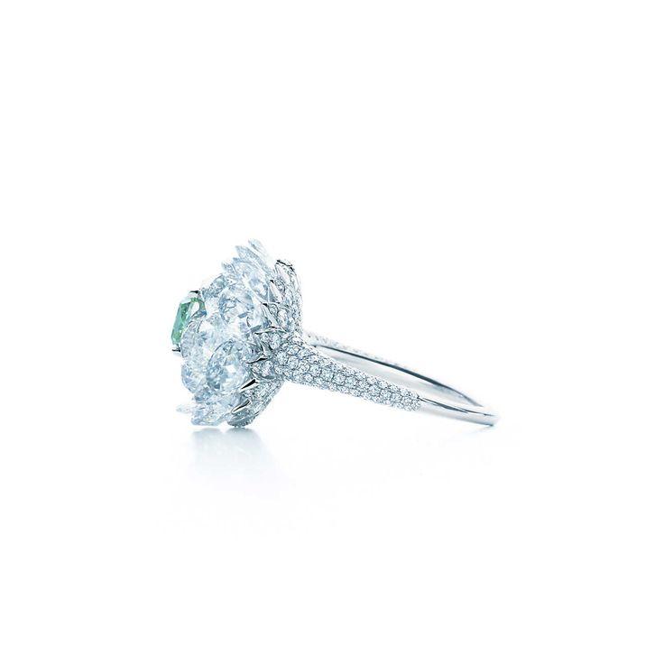 リング 1.21カラット ファンシー ヴィヴィッド グリーン ダイヤモンド ホワイト ダイヤモンド