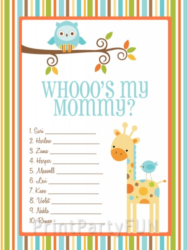 Safari Animals Baby Shower Game, Whooou0027s My Mommy Celebrity Moms Game,  Printable