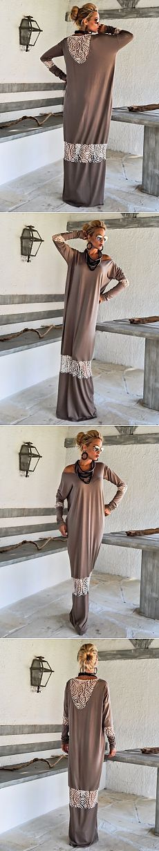 Темно-русый Макси платье Кафтан с бежевым кружевом от SynthiaCouture