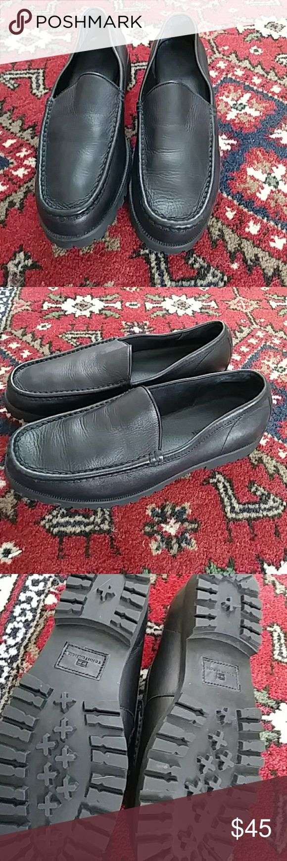 Tommy Hilfiger Mens Leather Loafers Black genuine leather mens loafers. Brand new without tags. Never worn and no box. Tommy Hilfiger Shoes Loafers & Slip-Ons