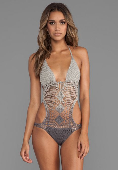 LISA MAREE The Throwback Crochet Swimsuit in Acid Black Ombre