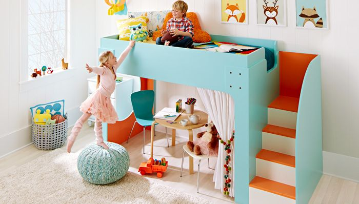 Junior Loft Bed...  Build a loft bed for your little ones and paint it in their favorite colors to make a sweet dream zone!
