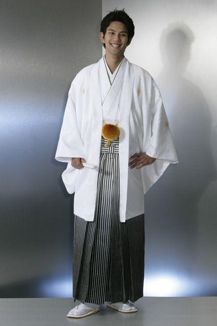 【男子紋服】着物109白りんず/袴55銀黒ボカシ縞