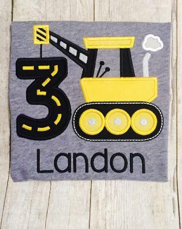 Boys Birthday Shirt - Construction Birthday - Construction Crane - Crane…