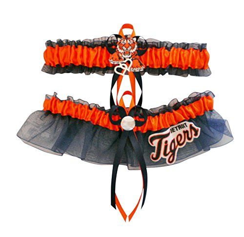 ITS43 Detroit Tigers Navy Blue Wedding Garter Set Prom Baseball Double Heart Charm * Read more at the image link.