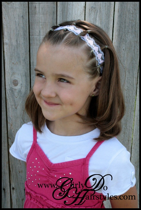 Girly Do's By Jenn: Short Hair, Awesome Hairstyles, Shorts Hair, Easy Hair Style, Cute Hair, Girls Hairstyles, Ribbons Headbands, Elastic Headbands, Ribbons Weaving